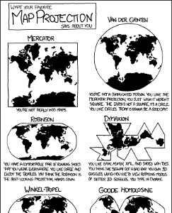Distintos Modelos de Dominio de Mapas, por XKCD
