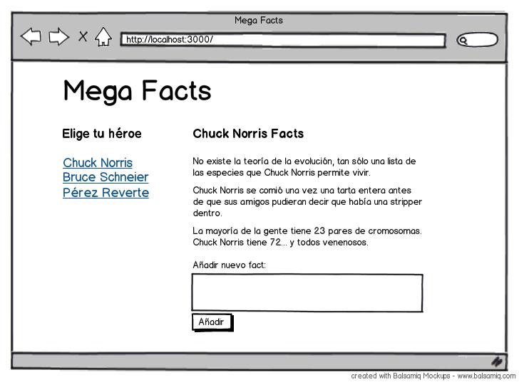 Mockup de la página de Mega Facts