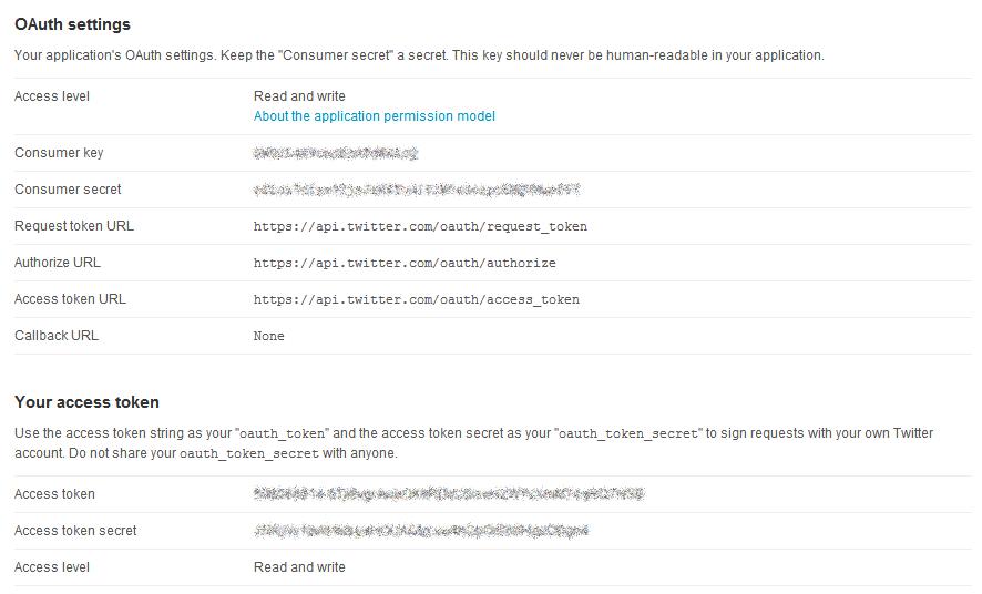 Configuración de aplicación en Twitter